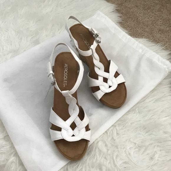 20fbc4e2c650 AEROSOLES Shoes - NWOT Aerosoles White Strappy Soft Plush Wedge Shoe